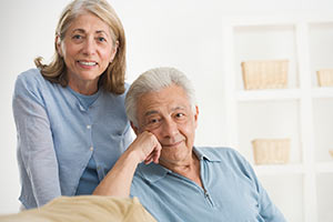 Senior couple pondering their options of Medicare supplements.